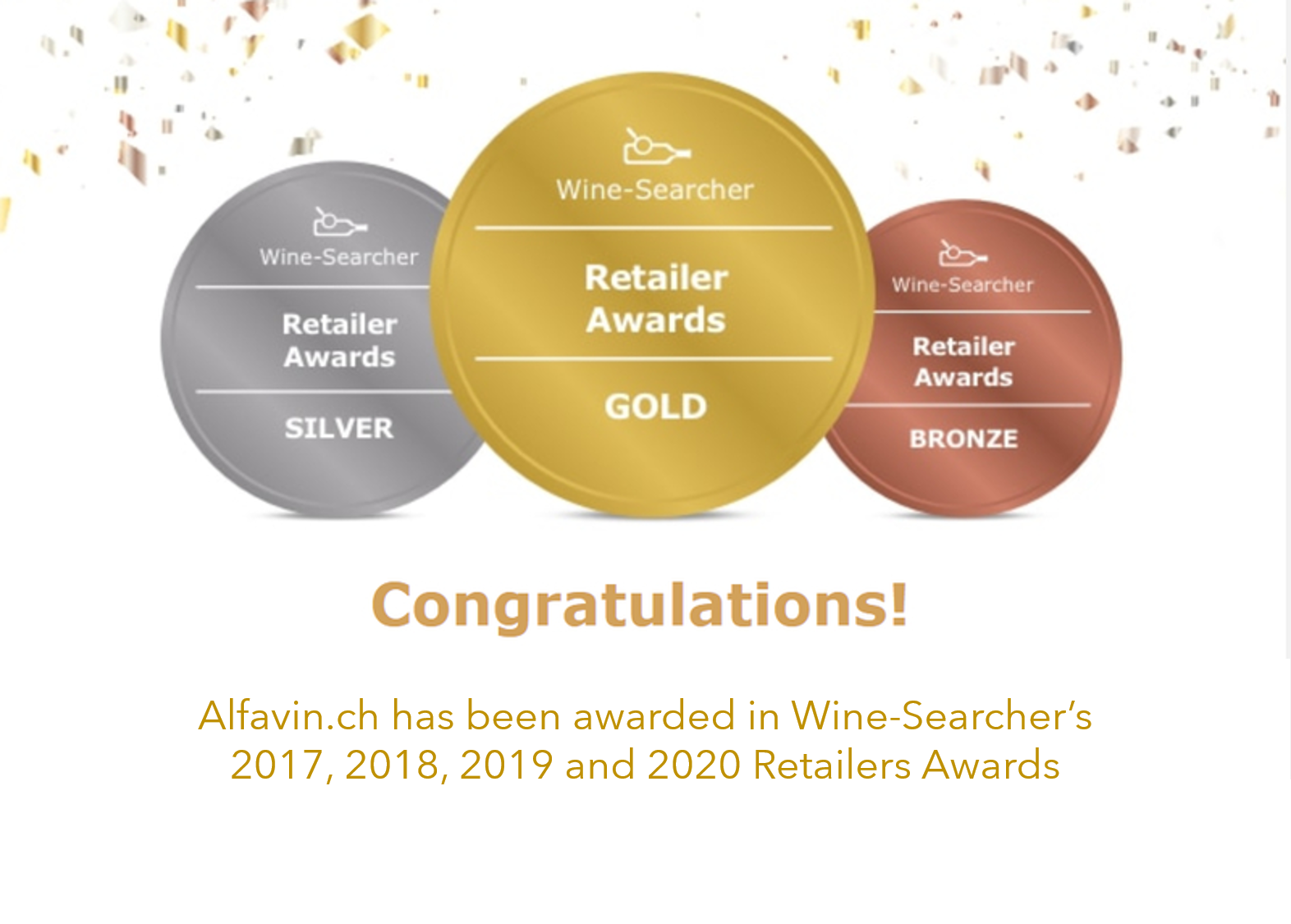 ALFAVIN.CH WINE SEARCHER'S GOLD MEDAL